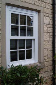 White sash sliding window in PVCu