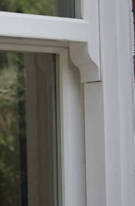 Sash window with authentic sash horn detail