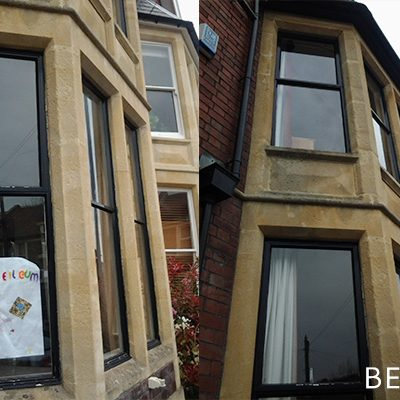 Black Timber Sash Window Replacement (before)