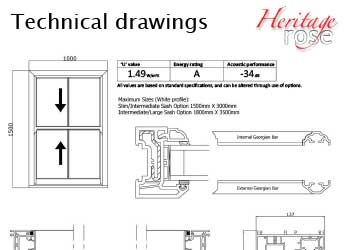 Heritage Rose Sash Windows - Technical Drawings