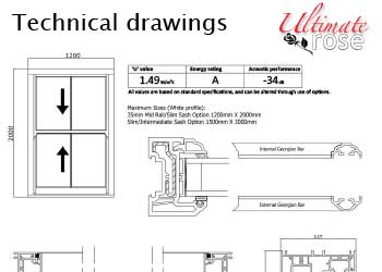Ultimate Rose Sash Windows - Technical Drawings