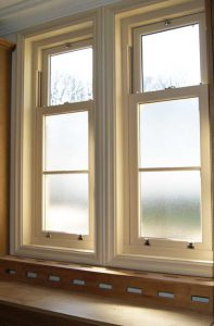 Sash windows with privacy glass