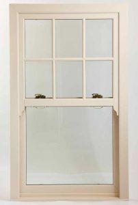 uPVC sash window with georgian bars in white uPVC