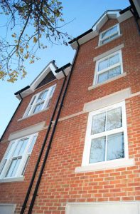 White uPVC sash sliding windows
