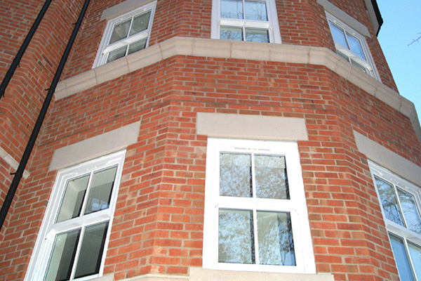 White New Build Sash Window Installation
