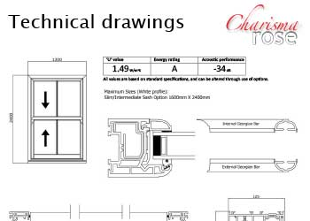 Charisma Rose Sash Windows - Technical Drawings