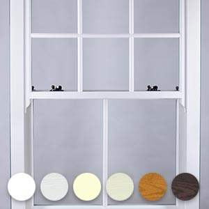 white sash window and colour samples