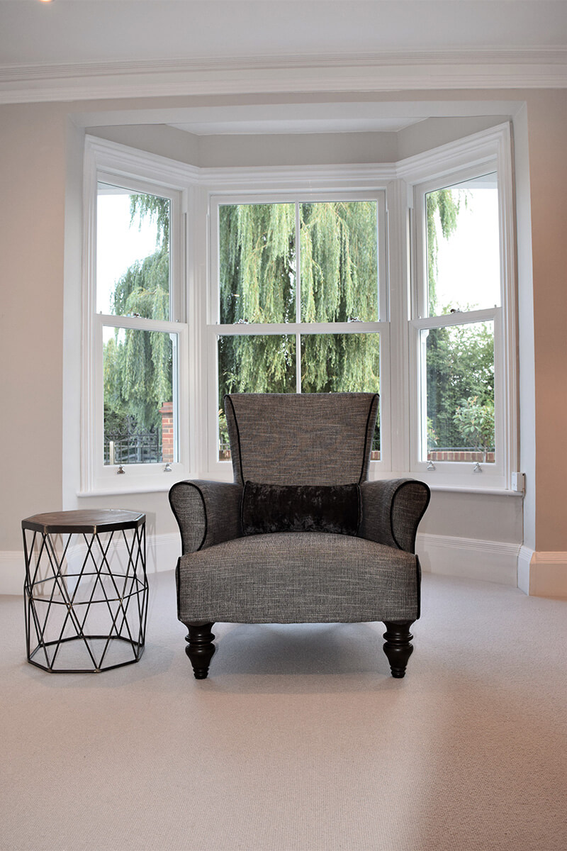 MIllwater cottage lounge interior with victorian sliders
