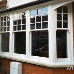 Timber sash bay window white
