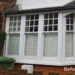 Timber sash window before white