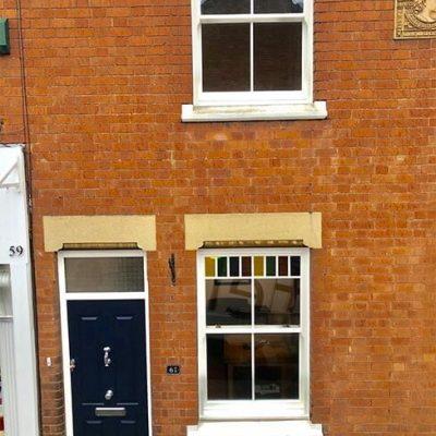 Terrace house with modern sliding sash windows