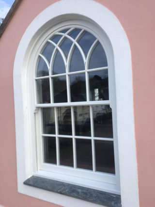 white ultimate Roseview Windows, arches, bespoke, gothic